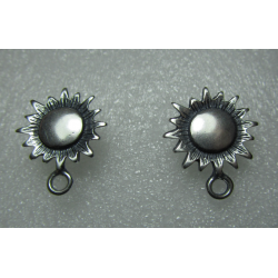 Zamak Sun/Sunflower Ear Stud 22x18 mm Nickel Color- 2 pcs