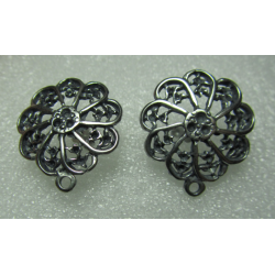 Zamak Openwork Flower Ear Stud 22x24 mm Nickel Color - 2 pcs