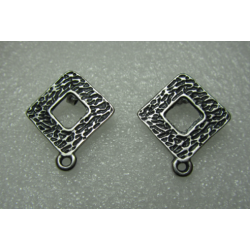 Zamak Openwork Rhombus Carved Ear Stud 23x20 mm Nickel/Black Color - 2 pcs