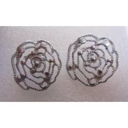 Perno in Zama Rosa Grande Stilizzata Traforata 25 mm Color Argento - 2 pz