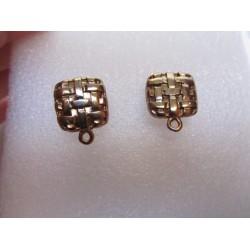 Zamak Square Ear Stud Braided 15x19 mm Gold/Bronze Color - 2 pcs