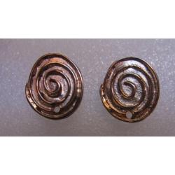 Zamak Swirl Ear Stud 20x17 mm Gold/Bronze Color - 2 pcs