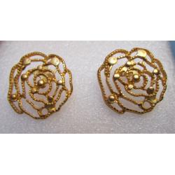 Perno in Zama Rosa Grande Stilizzata Traforata 25 mm Color Oro Opaco - 2 pz