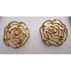 Zamak Openwork Big Rose Ear Stud 25 mm Gold Mat Color - 2 pcs