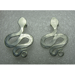 Zamak Snake Ear Stud 28x20 mm Whitened Silver Mat Color - 2 pcs