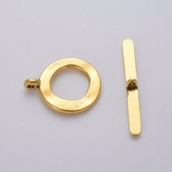 Round Hammered Toggle Clasp 17x21  mm,  Gold Color Plated - 1 pc