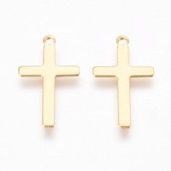 Stainless Steel Cross Pendant 23x12,5x0,7 mm,  Golden Color Plated - 10 pcs