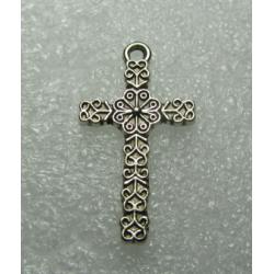Pendente Croce Stile Tibetano 26x15 mm Color Argento Anticato - 1 pz
