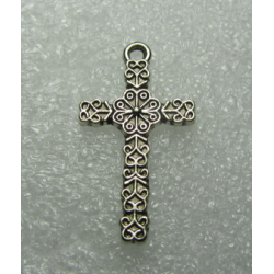 Tibetan Style Cross Pendant 26x15  mm, -Antique Silver - 1 pc