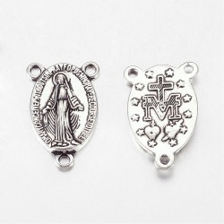 Virgin Link for Rosary 23x14,5x3 mm Antique Silver Color Plated - 1 pc