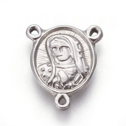 Stainless Steel Virgin Link for Rosary 14x12x2 mm- 1 pc