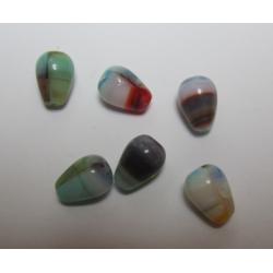 Glass Tears/Pears 10,5x7 mm Variegated Light Shades- 10 pcs
