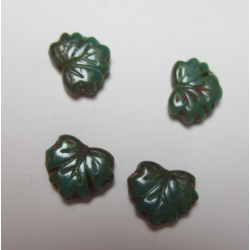 Leaf Bead 13x11 mm Dark Green/Terracotta Mottled - 5 pcs