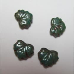 Perle forma Foglia 13x11 mm Verde Scuro/Terracotta Variegato - 5 pz