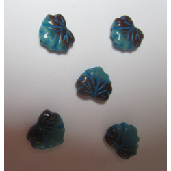 Leaf Bead 13x11 mm Blue/Brown Mottled - 5 pcs