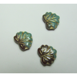 Leaf Bead 13x11 mm Green/Brown Mottled - 5 pcs