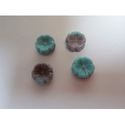 Flower  Bead 14  mm Green/Blue/Beige  Mottled  - 5 pcs