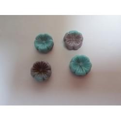 Perle forma Fiore 14 mm Verde/Blue/Beige Variegato - 5 pz