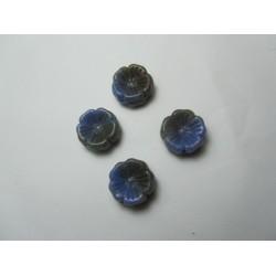 Perle forma Fiore 14 mm Azzurro/Grigio-Marrone Variegato - 5 pz