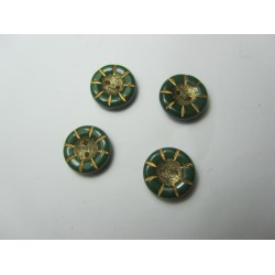 Bottone Fiore 14x5 mm Verde Scuro/Oro - 5 pz