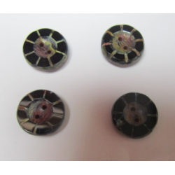 Flower Knop Bead 14 x5 mm Jet Dark Travertin - 5 pcs