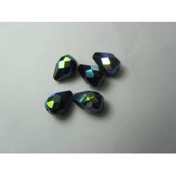 Faceted Glass Drops 10x7 mm Jet AB - 10 pcs