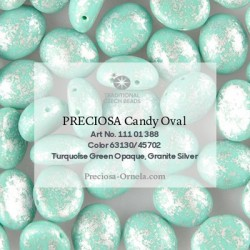 Candy Oval Beads 6x4 mm Opaque Turquoise Green Granite Gold - 20 pcs
