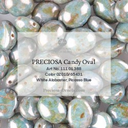 Candy Oval Beads 8x6 mm Jet Azuro - 20 pz