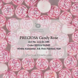 Candy Rose Beads 8 mm Alabaster AB - 10 pz
