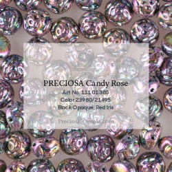 Candy Rose Beads 8 mm Jet Blue Iris - 10 pcs