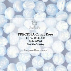 Candy Rose Beads 8 mm Blue Silk Overlay - 10 pz