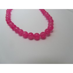 Jade Round Beads Dyed Fuchsia 6 mm - 10 pcs