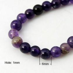 Amethyst Round  Beads  6 mm Purple  -  10 pcs