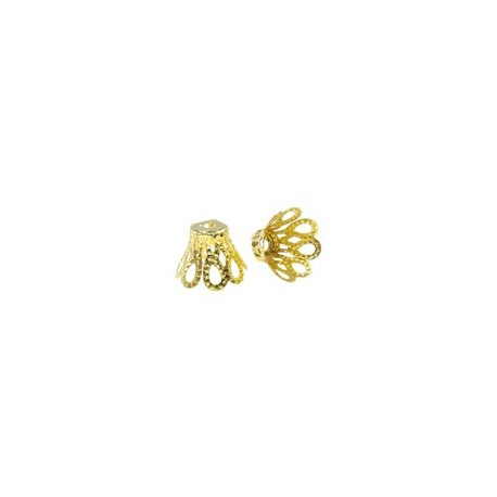 Flower Bead Cap  11x8 mm, Gold Color Plated  - 50 pcs
