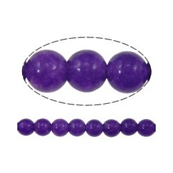 Jade Round Beads  Dyed Purple  4 mm - 15 pcs