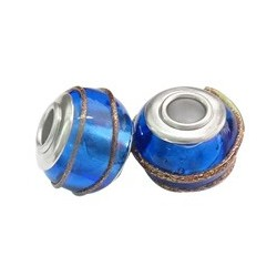 Large Hole Oval Bead, Glass and  Brass, 11x14  mm,  Handmade, Blue - 2 pcs