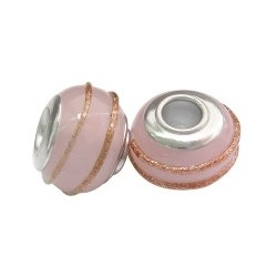Large Hole Oval Bead, Glass and  Brass, 11x14  mm,  Handmade, Pale Pink - 2 pcs