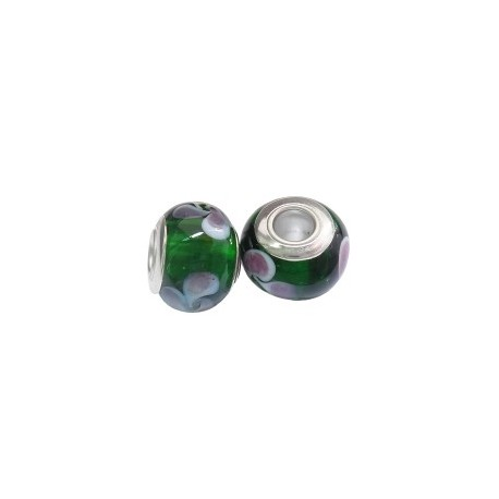 Large Hole Oval Bead, Glass and  Brass, 11x14  mm,  Handmade,  Green - 2 pcs