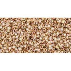 Rocailles Toho 15/0 Gold-Lined Rainbow Crystal