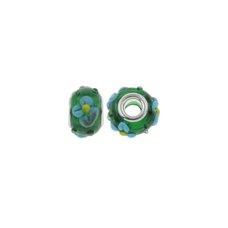 Large Hole Oval Bead, Glass and  Brass, 16x10  mm,  Handmade,  Green - 2 pcs