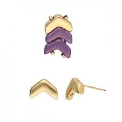 Cymbal Ganema Chevron Duo Earring Stud 24K Gold Plated - 2 pcs