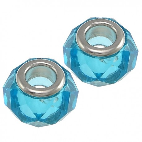 Large Hole Faceted  Oval Bead, Glass and  Brass, 10x14  mm, Light Blue - 2 pcs