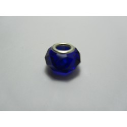 Large Hole Faceted  Oval Bead, Glass and  Brass, 10x14  mm,  Blue - 2 pcs