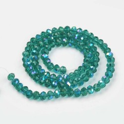 Glass Faceted Oval Beads 3 x 2 mm Dark Cyan Half Rainbow - 1 Strand of about 33 cm
