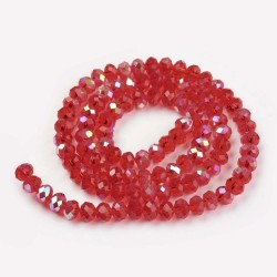 Glass Faceted Oval Beads 3 x 2 mm Red Half Rainbow - 1 Strand of about 33 cm