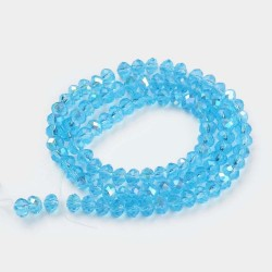Glass Faceted Oval Beads 3 x 2 mm Deep Sky Blue Half Rainbow - 1 Strand of about 33 cm