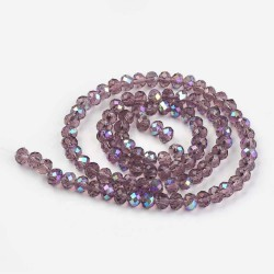 Glass Faceted Oval Beads 3 x 2 mm Purple Half Rainbow - 1 Strand of about 33 cm