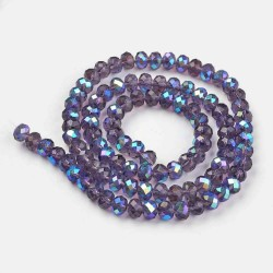 Glass Faceted Oval Beads 3 x 2 mm Indigo Half Rainbow - 1 Strand of about 33 cm
