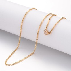 Stainless Steel Chainlet 60 cm Long with Lobster Clasp, size 2x2,5x0,4 mm , Gold Colour - 1 pc