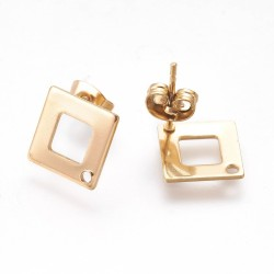Stainless Steel Rhombus Ear Stud 14 x 14 mm Shiny Golden without ear nut - 2 pcs